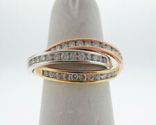 Genuine Diamonds 1.00ct Solid 18k Tri-Color Gold Trinity Ring 3 Bands Size 7