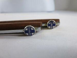 Vintage Hallmark Dark Walnut Wood Santa Fe Railroad Pencil Pen Set RP4