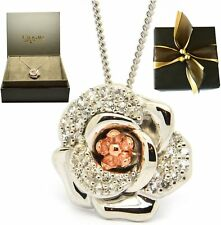 Clogau Silver & Welsh 9ct Gold Moonlight Rose Pendant