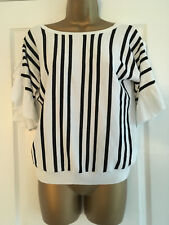 BNWT NEXT Black and White Frill Sleeve Fine Knit Sweater Size 12