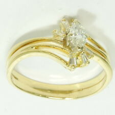 Diamond Engagement Baguette Band Estate Ring 14k Yellow Gold 1/4 Cttw Marquise
