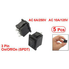 5x SPDT On/Off/On Interruttore a bilanciere nero 3pin AC 6A/250V 10A/125V HKIT