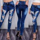 WOMENS LADIES JEANS Low Mid Rise Ripped Slim Fit Skinny Denim Size 6 8 10 12 14