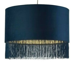 Lighting Collection Velvet Pendant Shade with Navy Fringe Tassel Trim