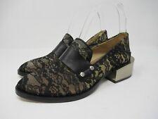 66868fb5650 BCBGMAXAZRIA Women s Block Heel Lace Loafer in Black Size  37 EUR