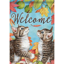 """Playful Kittens Welcome House Flag 28"""" x 40"""" Double sided Flag by Carson"""