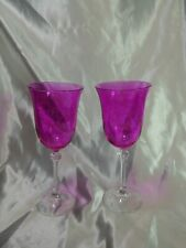 Pink Butterfly Wine Glass with crystal ball stem Set of 2