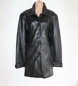 Women's Vintage WILSONS LEATHER Hip Lenght Black 100% Leather Jacket Coat UK18