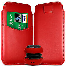 CARD SLOT PU LEATHER PULL FLIP TAB CASE & SPEAKER FOR BLACKBERRY SETS