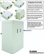 INTERNATIONAL VOLTAGE CONVERTER 240V/220V TO 120V/110V Up to 1600 WATT w/ 4 Kits