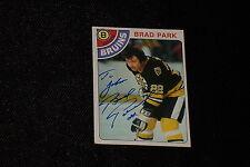 HOF BRAD PARK 1978-79 TOPPS SIGNED AUTOGRAPHED CARD #79 BRUINS