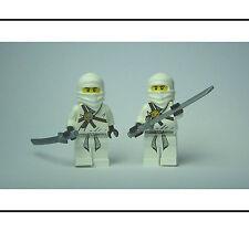 ☆NEW☆ 2 Lego White Ninja Minifigures Minifigs with Silver Sword Katana Weapons!