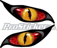 "1 Set Yellow Red Evil Eye Zombie Decal Sticker Laptop Each Eye 3""x 7"" xbox 9002"