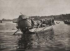 1929 JAPAN Original Photo Gravure FISHING BOAT Seascape Nautical Asian ~ FELLNER