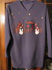 Ladies fleece  pullover sweater small S snowmen women winter EUC blue sweatshirt