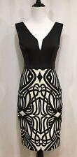 Black Halo Eve By Laurel Berman Black & Ivory Sleeveless Cocktail Dress, Size 2