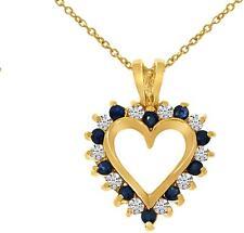 14k Oro Amarillo Zafiro Y Diamante Colgante forma corazón (CADENA NO INCLUIDAS)