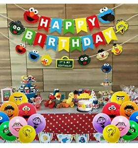 60pc Felt Sesame Street Party Decorations Balloons Banners Cake Topper