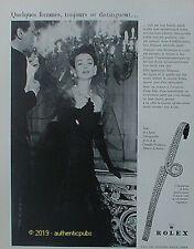 PUBLICITE ROLEX MONTRE BRACELET FEMME ROBE CHANEL COMEDIE FRANCAISE DE 1957 AD