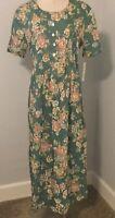 L.B.S LTD  Vintage Size 10 Fit & Flare Dress Short Sleeves Pin-tucks Green Sage