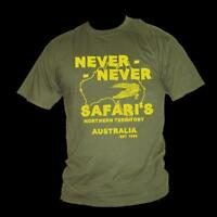 Crocodile Dundee NEVER NEVER SAFARI'S inspired Paul Hogan mens film t-shirt