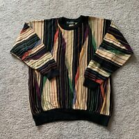Vintage Tundra Mens Multicolor Striped Textured Coogi Style Cotton Sweater Sz L