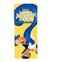 Vintage 1998 Walt Disney World Resort Guest Answer Book Jiminy Cricket