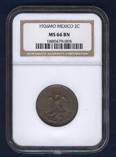MEXICO ESTADOS UNIDOS 1926  2 CENTAVOS COIN CERTIFIED UNCIRCULATED NGC MS66-BN