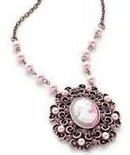 New Filigree Copper Pink Pearl Crystal Cameo Pendant Necklace in Gift Box