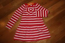 NWT Gymboree Holiday Shop Size 5T Red White Striped Bow Fleece Dress