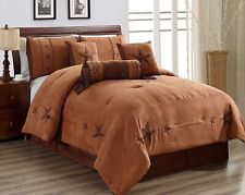 Twin Size Chocolate Brown Gold Rustic Western Micro Suede Oversize Comforter Set