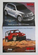 "20"" x 26""  Auto Advertising Flyer - Win a 2000 Jeep Wrangler or 2001 PT Cruiser"