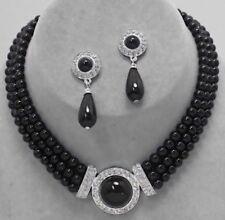 Black Silver Pearl Multi Layered Rhinestone Wedding Bead Necklace Earring Set