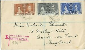 British Guiana 1937 George VI  Registered Coronation Cover