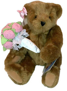 """Vermont Teddy Bear Pink Rose Bouquet 16"""" Jointed Beige Colored Bear Gift NWT"""