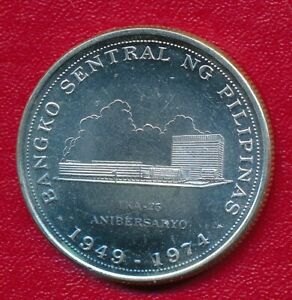 PHILIPPINES 1974 25 P1SO COMMEMORATIVE SILVER COIN **GEM PROOF**