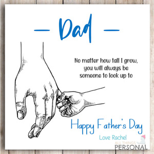 Fathers Day Card for Dad Personalised Daddy Father's Day Card from Son Daughter