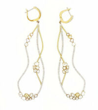 3.63 ct Diamond Drop Earrings with Color Diamonds in 18k Yellow Gold-HM1804AN
