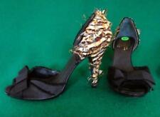 PEDRO GARCIA Uk 6.5-7 /40 Black Silk Satin Feathered Evening Vamp Peeptoe Shoes