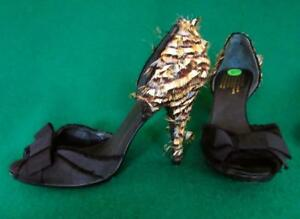 PEDRO GARCIA Uk 6.5-7 /40 Black Silk Satin Feathered Evening Vamp Peeptoe Shoes