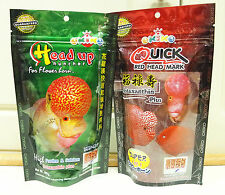 OKIKO FLOWERHORN CICHLID FISH SET OF QUICK RED & HEAD UP FISH FOOD 2X100G XL