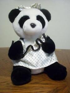 1987 Panda Bear Dakin Collectible in White Satin Polka Dot Dress & Bow