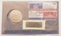 1974 BICENTENNIAL FIRST DAY COVER WITH MEDAL      COLLECTOR SET IN DISPLAY CASE