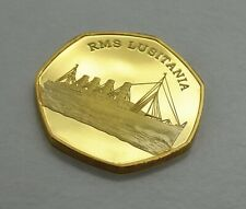 RMS LUSITANIA RMS TITANIC SINKS.  50P COIN COLLECTORS. PRODUCTION ERROR.GOLD