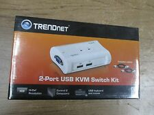 New Sealed TRENDnet 2-Port USB KVM Switch Kit