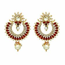 Ethnic Bollywood Style Fashion Jewelry Gold Tone Indian Maroon Crystal Earrings