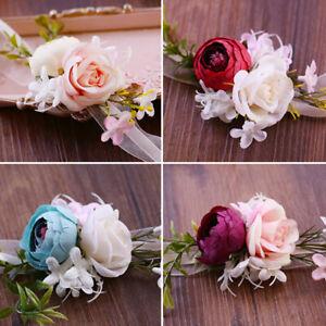 Wedding Wrist Corsage Bride Bridesmaid Pearls Leaves Rose Flower Hand Flowers