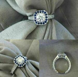 3 Ct Round Cut Diamond & Sapphire Engagement Wedding Ring Solid 14K White Gold