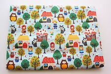 Woodland Animals Fairy Tale Cotton Fabric Little Red Riding Hood Blue Quilt 0.5m
