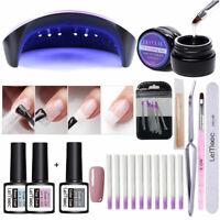 Fiberglass Nagel Extension Kit Pink Gellack Base Top Coat 36W UV Nail Dryer Tool